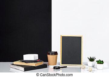 interieur, kamer, versiering, amerikaan, of, scandinavische, stijl, met, boekjes , succulent, in, de, pot., poster, met, plek, voor, tekst