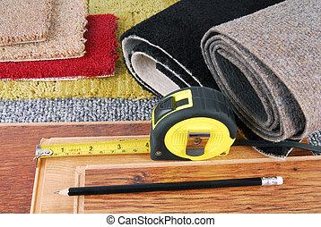 interieur, laminaat, tapijt, keuze