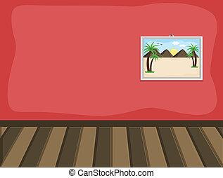 interieur, landschap, kamer, afbeelding