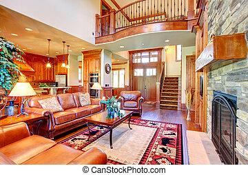 interieur, levend, luxe, kamer