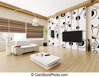 interieur, levend, moderne kamer, 3d