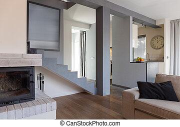 interieur, levend, ontworpen, kamer