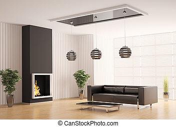 interieur, levend, openhaard, kamer, 3d