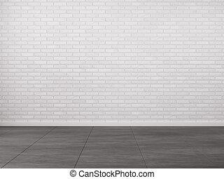 interieur, met, baksteen muur
