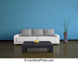 interieur, met, een, sofa, en, een, tafel
