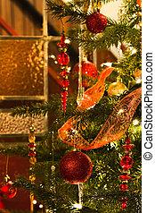 interieur, met, kerstboom, en, glasinlood