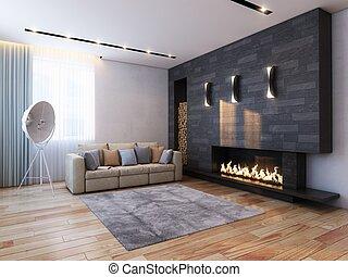 interieur, minimalist, ontwerp, st