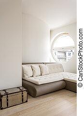 interieur, minimalistic, bankstel, slaper
