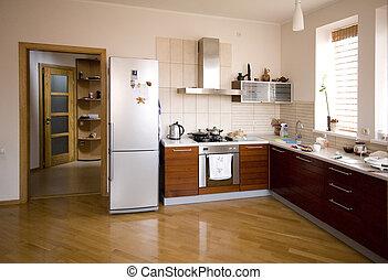interieur, moderne, keuken
