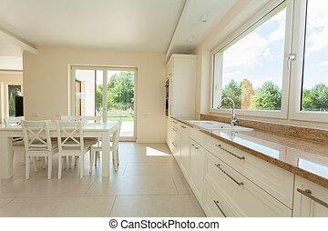 interieur, moderne, schoonmaken, keuken
