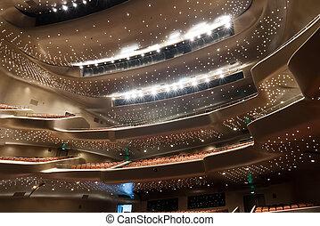 interieur, moderne, theater