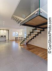 interieur, -, ontwerpers, trap