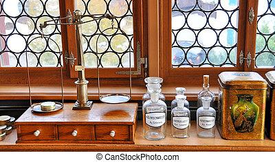 interieur, oud, apotheek