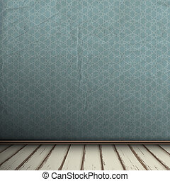 interieur, ouderwetse , kamer, lege, grijze
