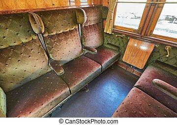 interieur, ouderwetse , trein