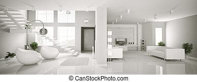 interieur, panorama, witte , flat, 3d