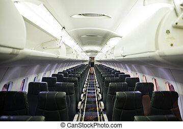 interieur, passagier, vliegtuig