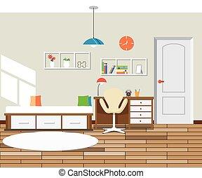 interieur, plat, moderne, ontwerp, slaapkamer