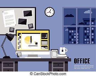 interieur, plat, ontwerp, plek, werkende