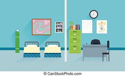 interieur, plat, school, kliniek