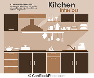 interieur, plat, stijl, infographic, keuken