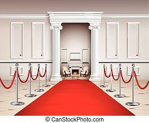 interieur, rood tapijt