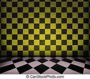 interieur, schaakbord, achtergrond