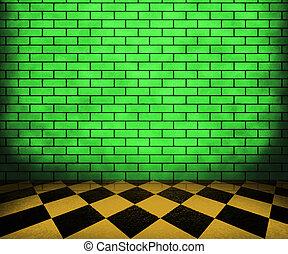 interieur, schaakbord, groene, baksteen, achtergrond