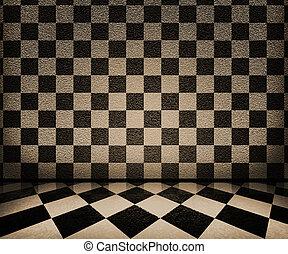 interieur, schaakbord, sepia, achtergrond