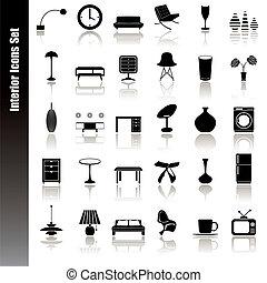interieur, set, iconen