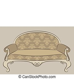 interieur, sofa, ouderwetse