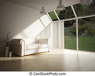 interieur, sofa, witte , moderne, leider