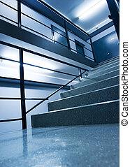 interieur, stedelijke , (toned, blue)