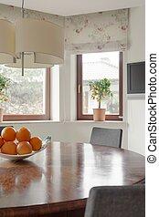 interieur, tafel, ronde, gezellig