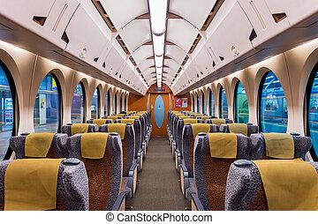 interieur, trein, moderne, lege, seats.