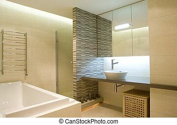 interieur, van, badkamer