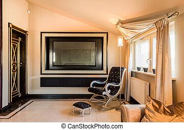 interieur, van, barok, kamer, in, fiscale woonplaats