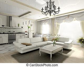 interieur, van, de, flat, in, classieke, stijl
