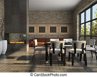 interieur, van, de, huiskamer, met, openhaard