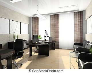 interieur, van, de, kabinet, in, de werkkring, 3d,...