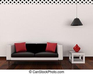 interieur, van, de, moderne kamer