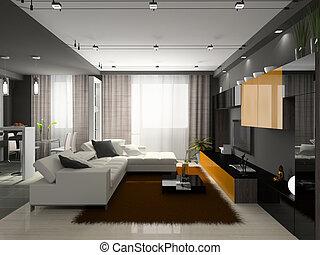 interieur, van, de, modieus, flat