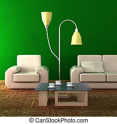 interieur, van, een, levend, room., 3d, image.