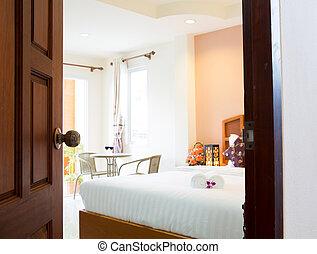 interieur, van, moderne, comfortabel, hotelkamer