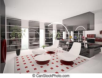 interieur, van, moderne, flat, 3d, render