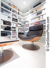 interieur, van, thuis, bibliotheek