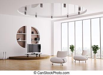 interieur, van, woonkamer, 3d