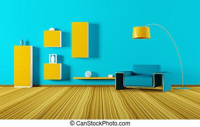 interieur, van, woonkamer, 3d, render