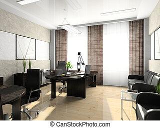 interieur, vertolking, 3d, kantoor, kabinet