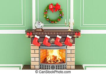 interieur, vertolking, 3d, kerstmis, openhaard